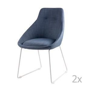 Sada 2 svetlomodrých jedálenských stoličiek sømcasa Alba