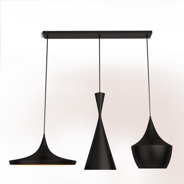 Čierne závesné svietidlo s detailom v zlatej farbe Dee