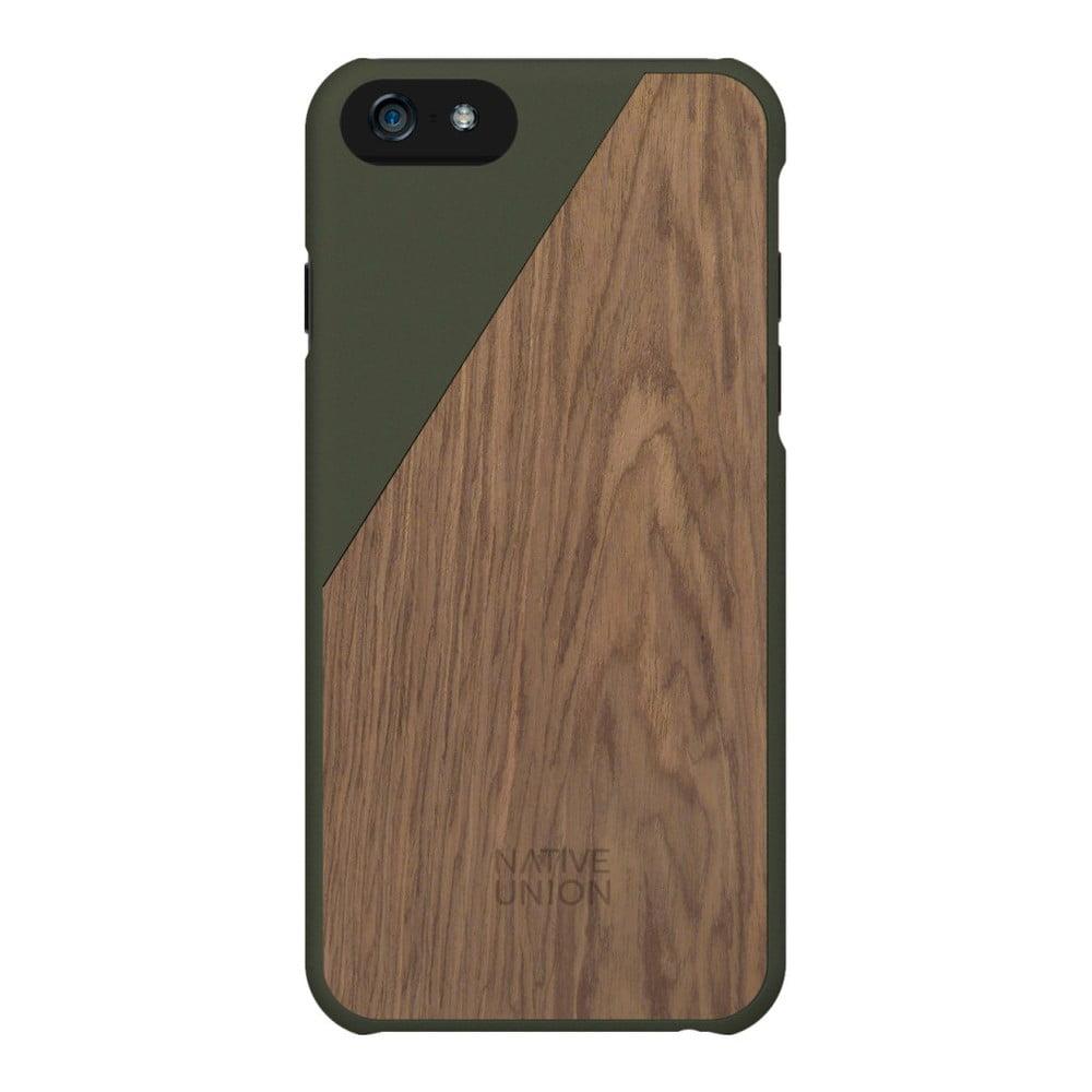 cefc529f94ebc Tmavozelený obal na mobilný telefón s dreveným detailom pre iPhone 6 a 6S  Plus Native Union