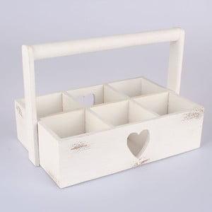 Drevená prepravka Heart, biela