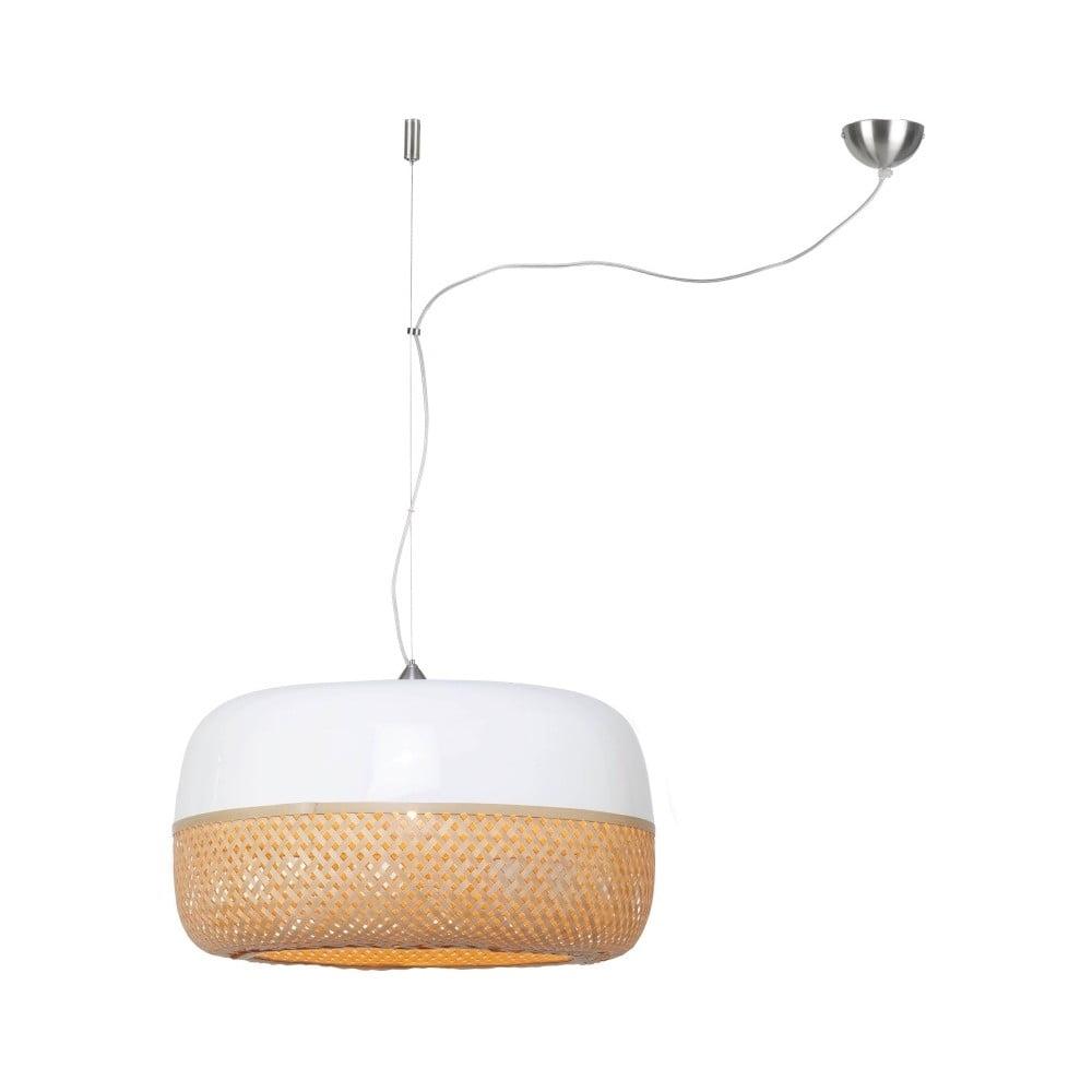 Bielo-hnedé bambusové závesné svetlo Good&Mojo Mekong, ⌀ 60 cm