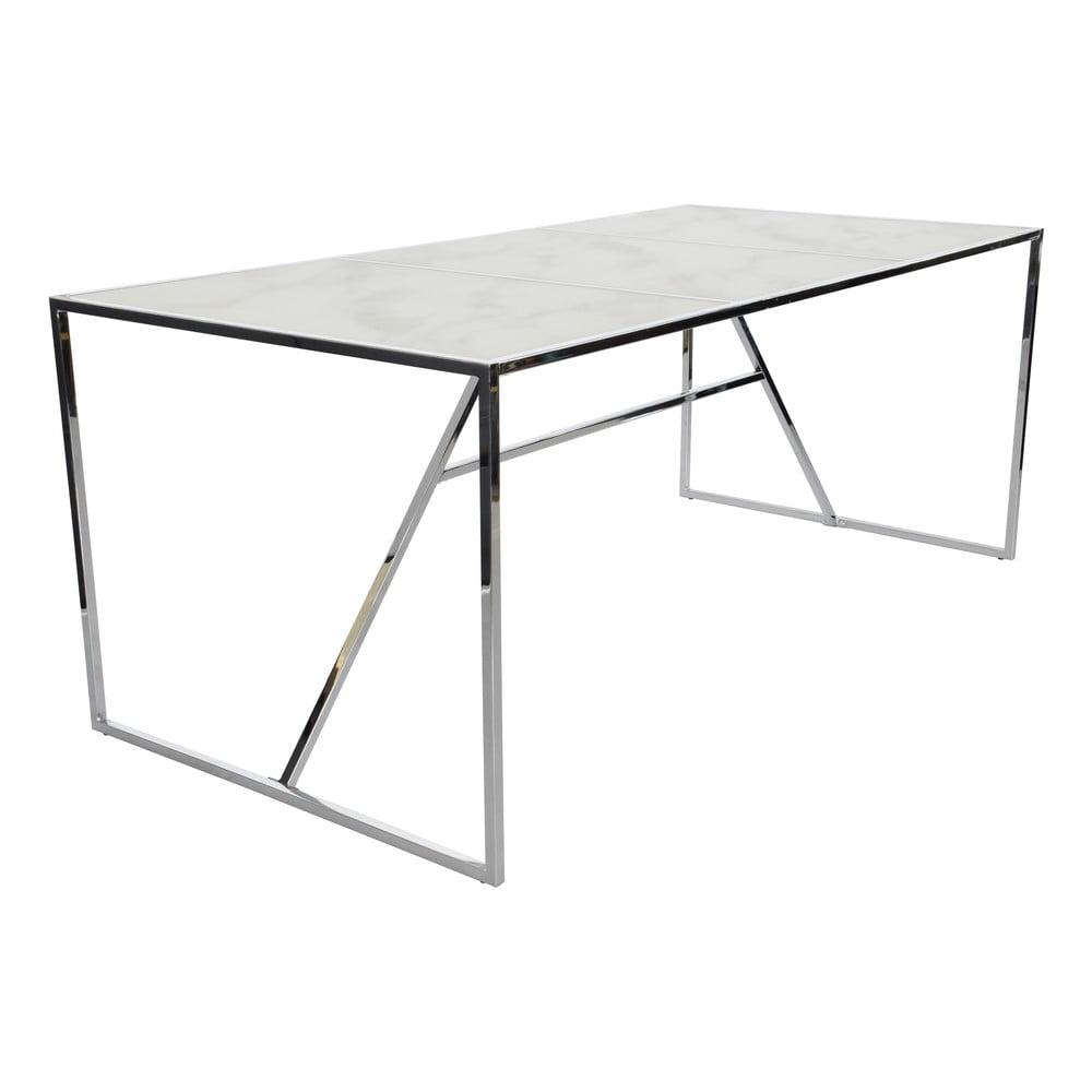 Biely sklenený jedálenský stôl s podnožím v striebornej farbe RGE Glass Marble Effect, dĺžka 185 cm