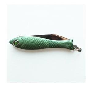 Tmavozelený český nožík rybička s kryštálom v oku