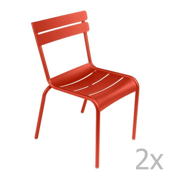 Sada 2 červenooranžových stoličiek Fermob Luxembourg