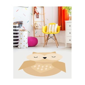 Žltý detský vinylový koberec Floorart Sovička, 105 x 150 cm