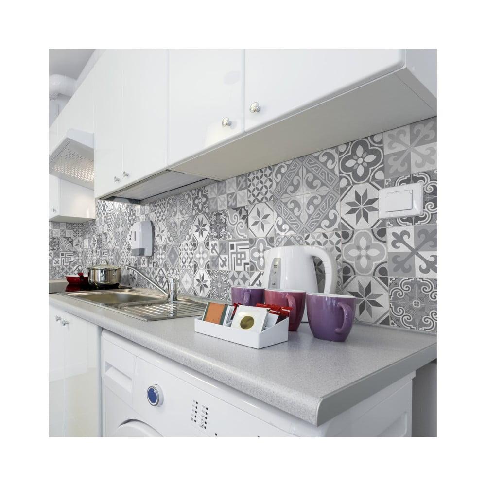 Sada 24 nástenných samolepiek Ambiance Wall Decal Cement Tiles Azulejos Micalina, 10 × 10 cm