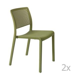 Sada 2 zelených záhradných stoličiek Resol Trama