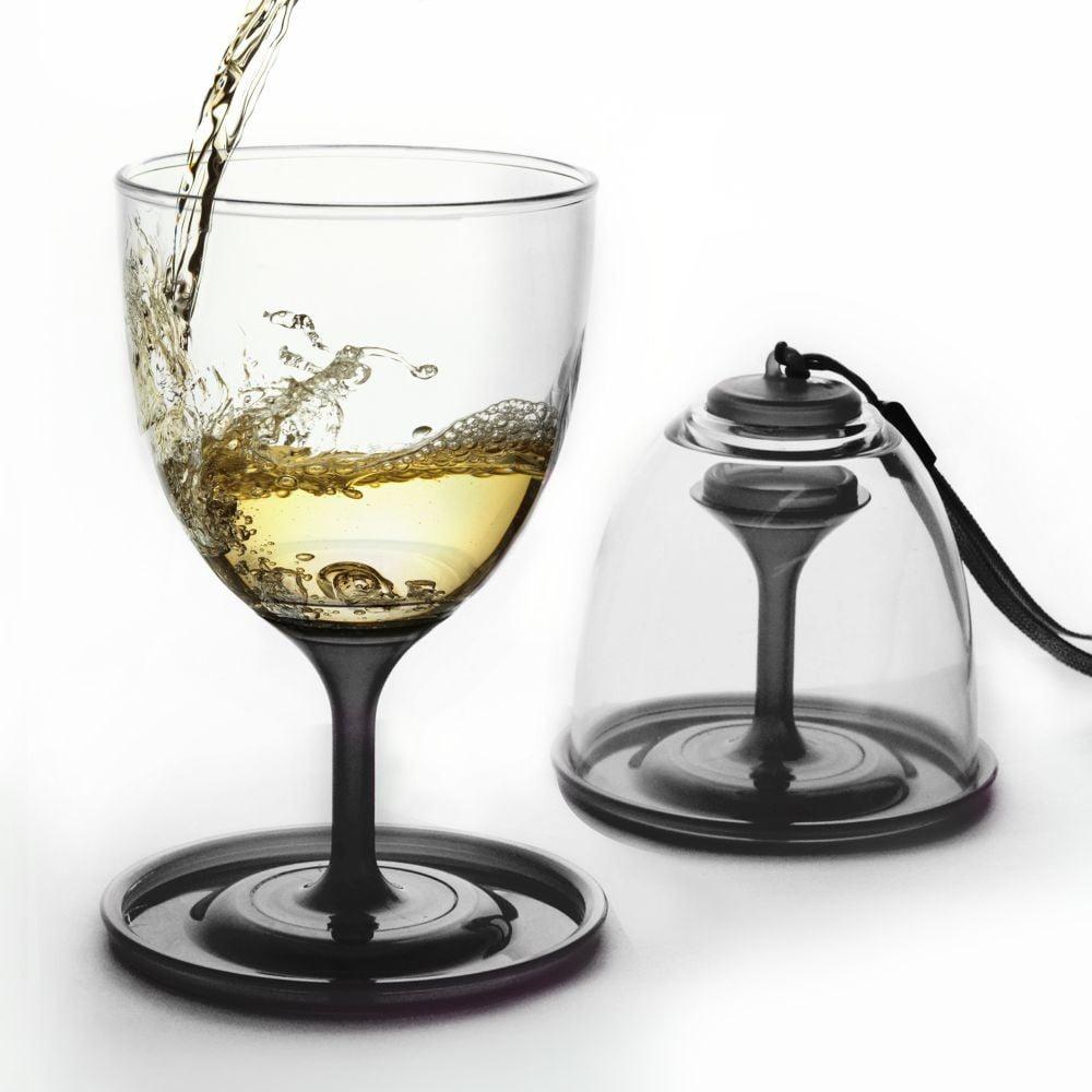 Čierna sada pohárov na víno Stack N' Go Vino, 300 ml