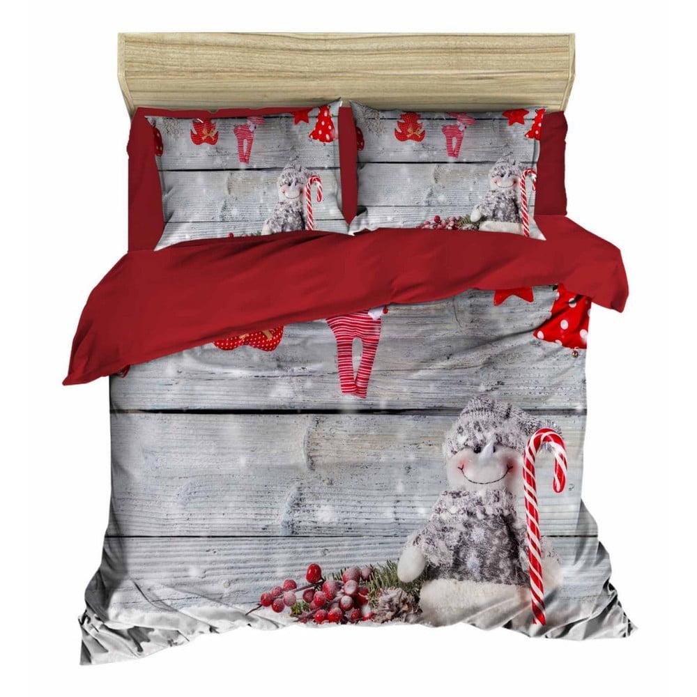 Vianočné obliečky na dvojlôžko s plachtou Antonio, 160×220 cm