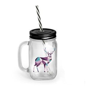 Pohár s krytom a slamkou Vialli Design Mia Natura Deer, 450 ml