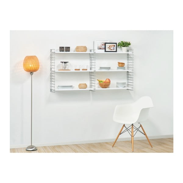 Biely 3-poschodový regál s bielymi policami Metaltex Libros