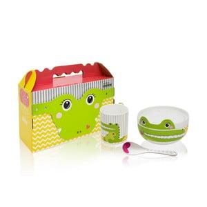 Detský raňajkový set z kostného porcelánu Silly Design Happy Crocodile