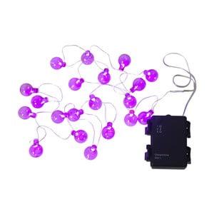 Ružová vonkajšia svetelná LED reťaz s motívom žiaroviek Best Season Bulb, 20 svetielok