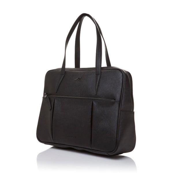 Kožená kabelka cez rameno Marta Ponti Negozio, čierna