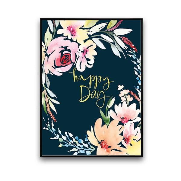 Plagát s kvetmi Happy Day, čierne pozadie, 30 x 40 cm