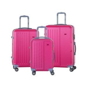 Sada 3 ružových cestovných kufrov na kolieskách s kódovým zámkom SINEQUANONE