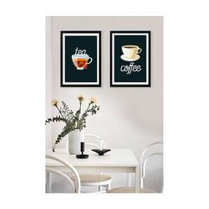 Sada 2 nástenných obrazov Tablo Center Tea Coffee