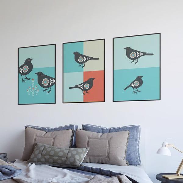 Plagát Vtáčiky oranžové, malý