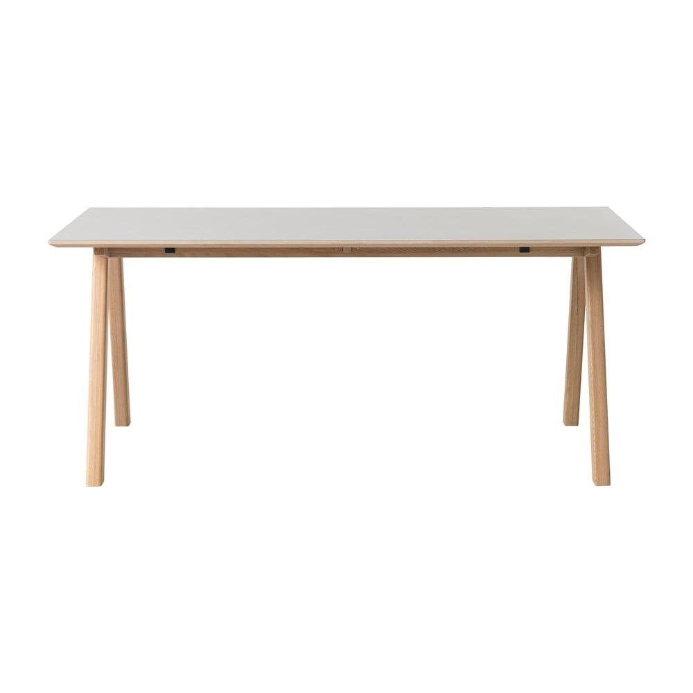 Sivý jedálenský stôl s nohami z dubového dreva Unique Furniture Bilbao