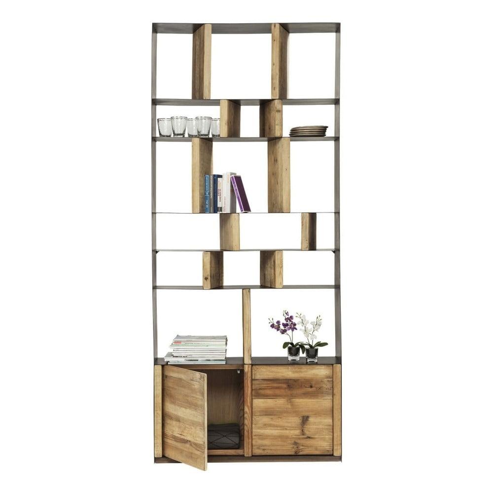 Knižnica z recyklovaného borovicového dreva s dvierkami Kare Design Storm