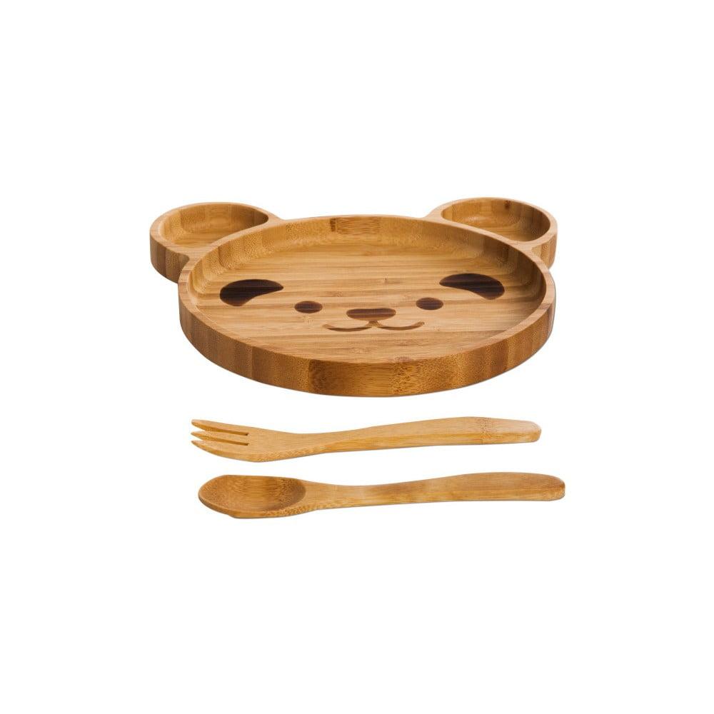 Jedálenský set pre deti z bambusu Bambum Teddy