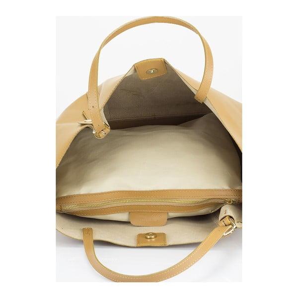 Koňakovohnedá kožená kabelka Lisa Minardi Eunice
