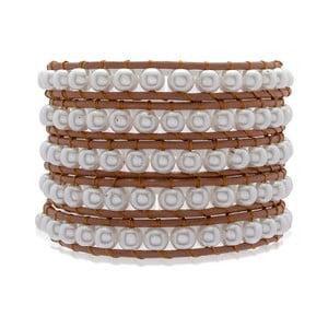 Hnedý dvojradový náramok z pravej kože s perlami Lucie & Jade