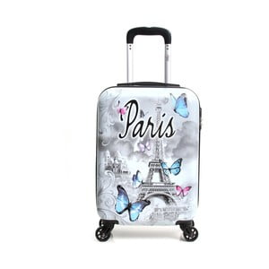 Biely cestovný kufor na kolieskach Hello Paris