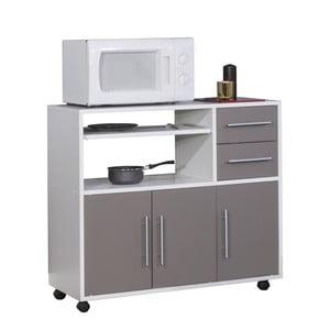 Sivý pojazdný kuchynský úložný systém s policami Symbiosis Marius