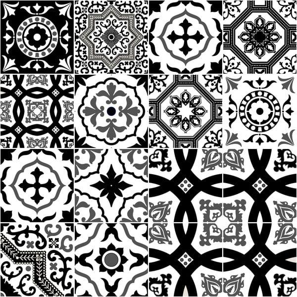 Sada 16 nástenných samolepiek Ambiance Azulejos Modern Black and White Shade, 10 × 10 cm