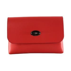 Červená kožená listová kabelka Chicca Borse Penny
