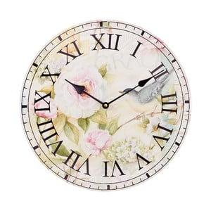 Nástenné hodiny Pink Flowers, 34 cm