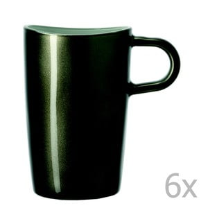 Sada 6 sivých metalických hrnčekov na macchiato LEONARDO Loop, 365 ml