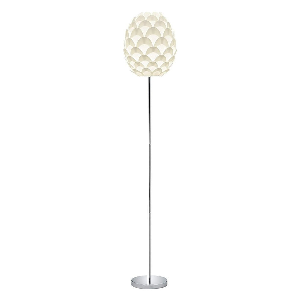 Biela kovová stojacia lampa Trio Choke, výška 150 cm