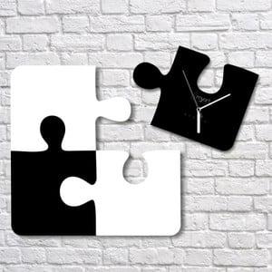 Nástenné hodiny Black White Puzzle