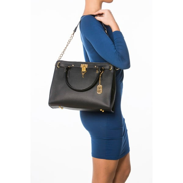 Čierna kožená kabelka Federica Bassi Dollaro