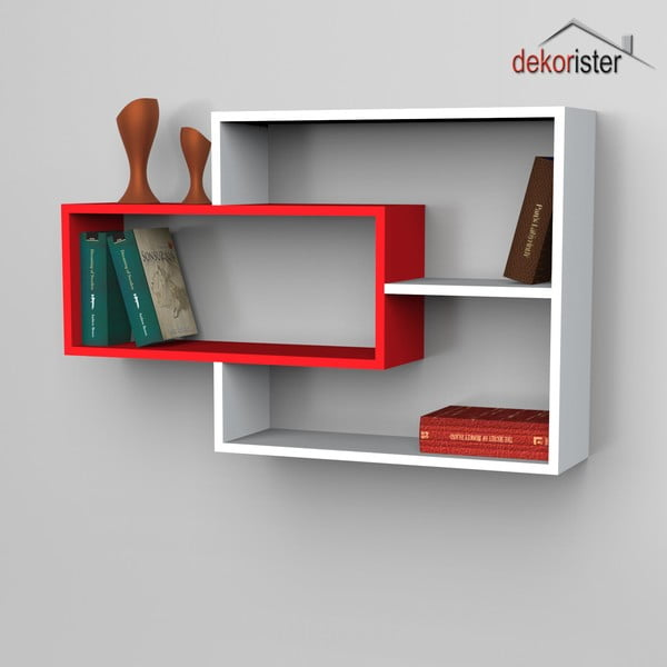 Polica Sementha Book White/Red, 22x104,1x66,2 cm