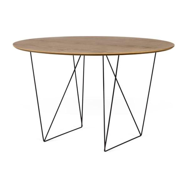Jedálenský stôl v dekore orechového dreva s čiernym podnožím TemaHome Row, Ø120cm