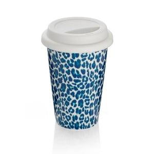 Modrý cestovný hrnček z kostného porcelánu Sabichi Leopard, 300ml