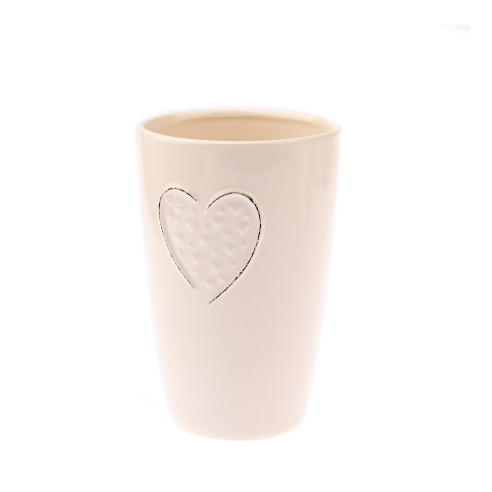 Krémová keramická váza Dakls Heart, výška 17,8 cm
