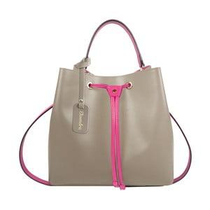 Béžová kožená kabelka s fuksiovým detailom Maison Bag Lexy