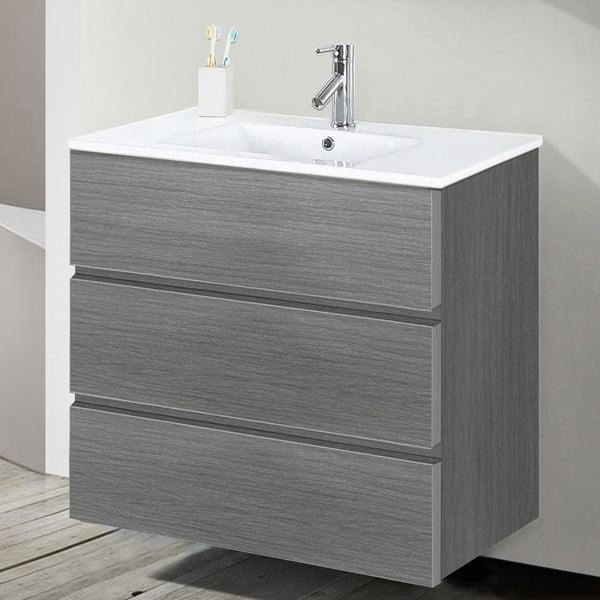 Kúpeľňová skrinka s umývadlom a zrkadlom Nayade, odtieň sivej, 70 cm