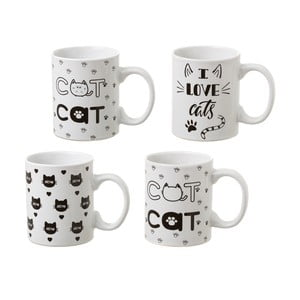 Sada 4 keramických hrnčekov Unimasa Cat