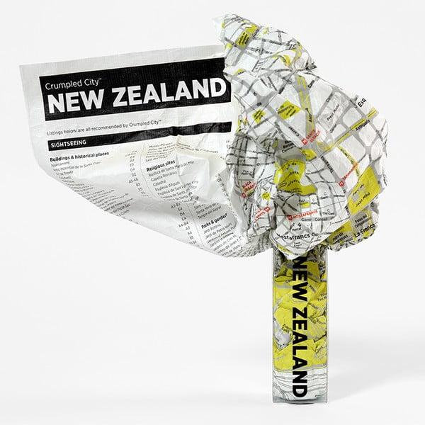 Pokrčená cestovná mapa Nový Zéland