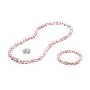 Sada náhrdelníka, náušníc a náramku z riečnych perál Crystal
