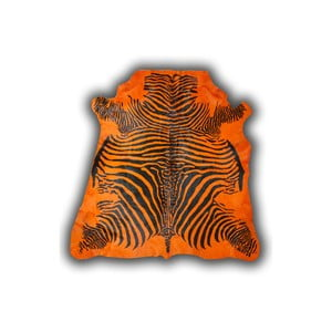 Kožená predložka Normand Cow Zebra Orange, 170x190 cm