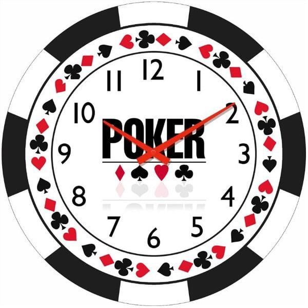 Sklenené hodiny Poker, 34 cm