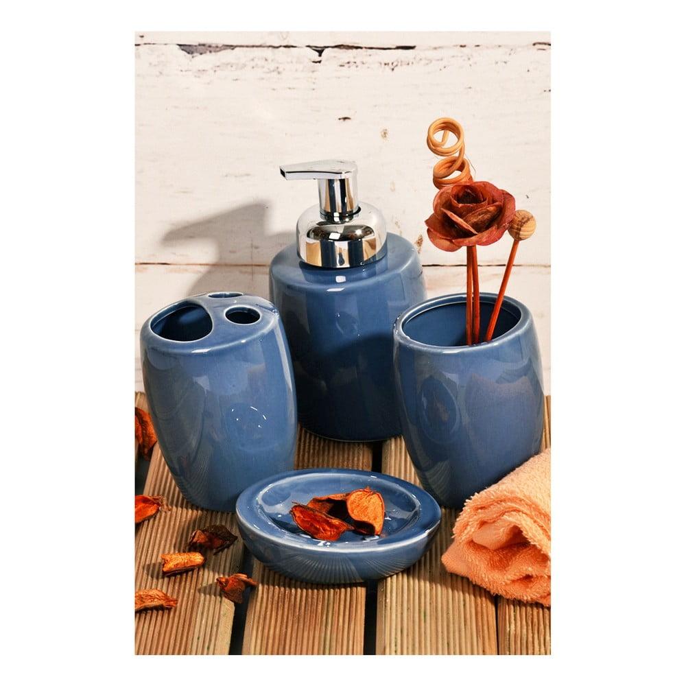 Modrá 4-dielna sada kúpeľňových doplnkov Ivett
