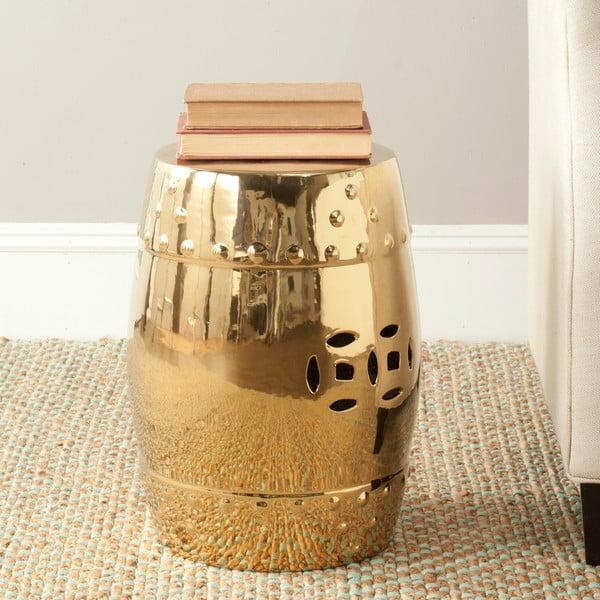 Zlatý odkladací keramický stolík Safavieh Modern Ming