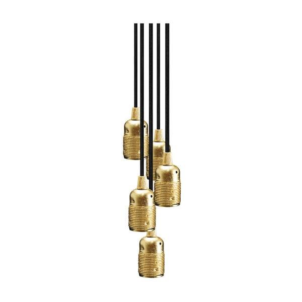 Závesné svietidlo s 5 čiernymi káblami a objímkou v zlatej farbe Bulb Attack Uno Group